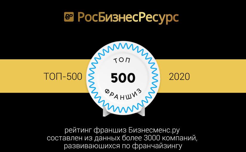 Франшиза РосБизнесРесурс в ТОП-500 лучших франшиз